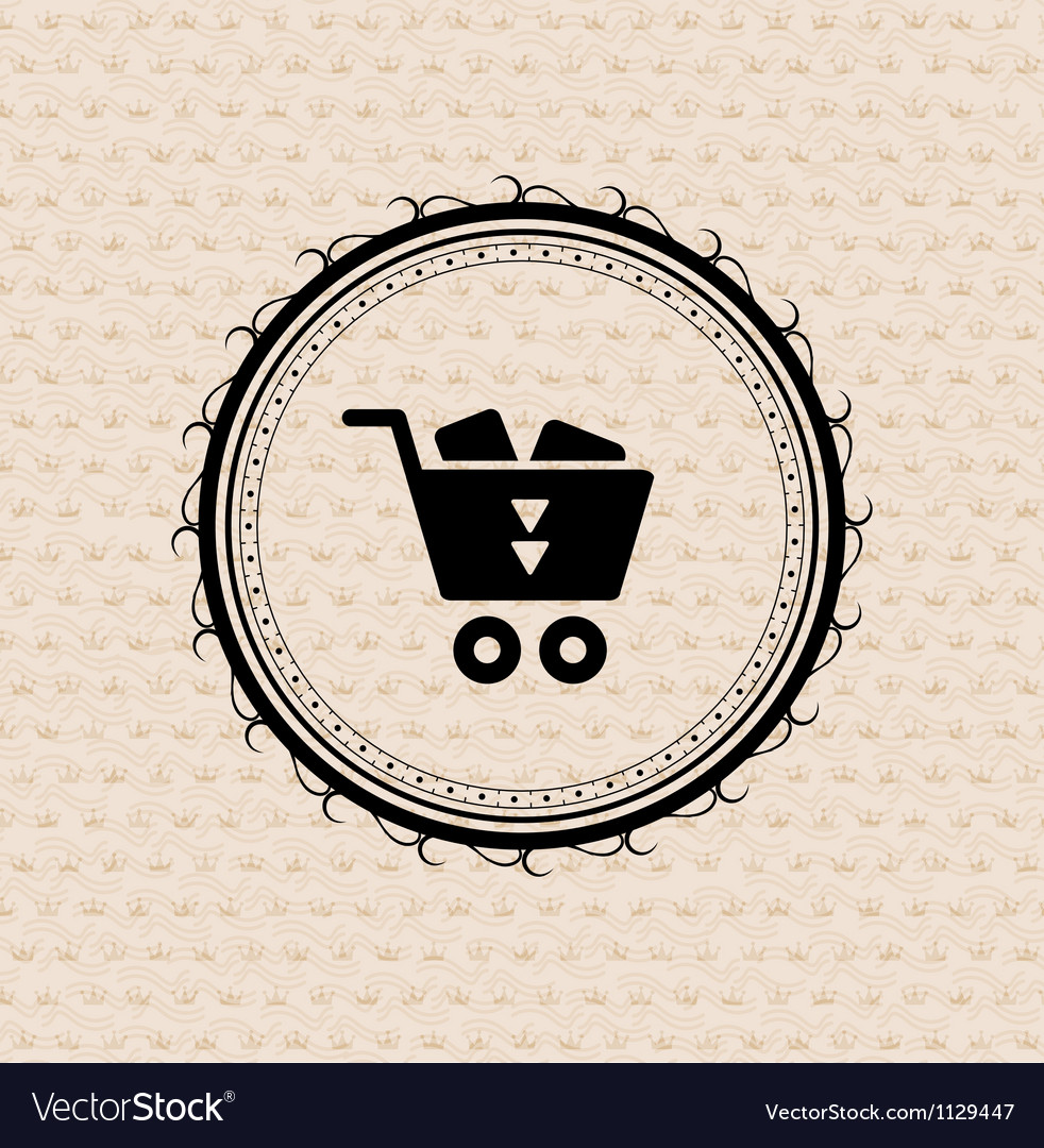 Vintage retro label  tag  badge  shopping cart vector image