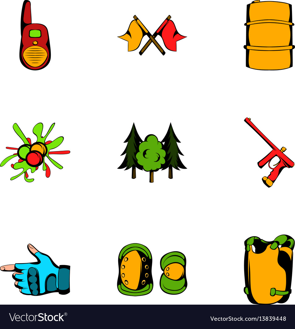 Play icons set cartoon style vector image