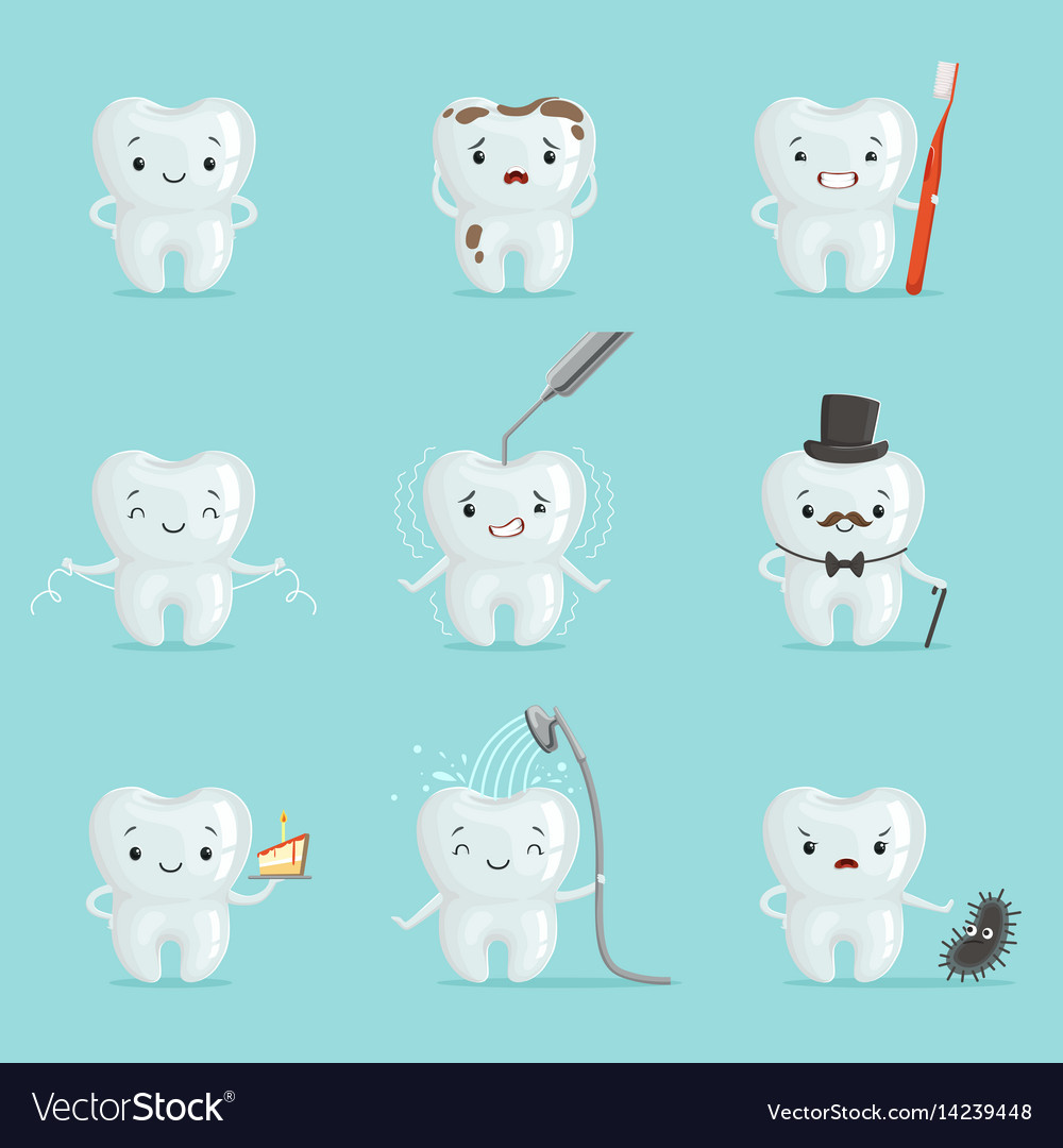 White teeth with different emotions set for label vector image