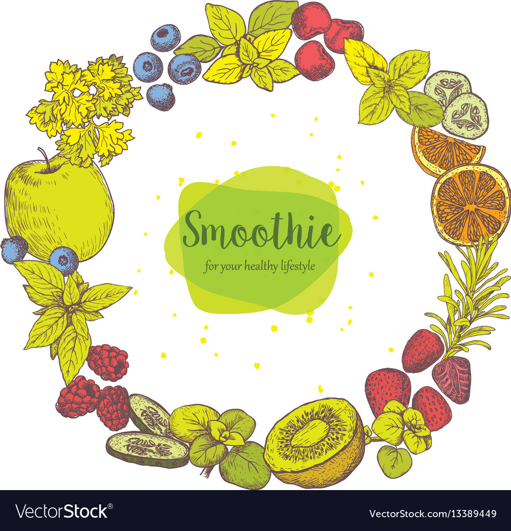 Smoothie herb spices and fruits vector image