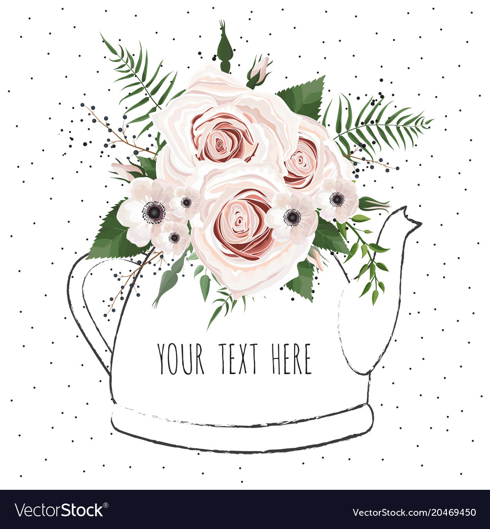 Cute with a bouquet of flowers in a Royalty Free Vector