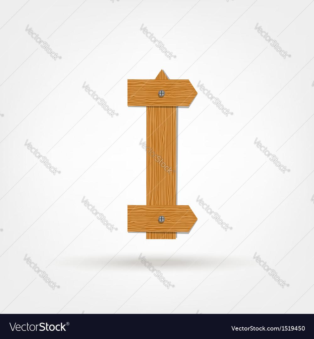 Wooden Boards Letter I vector image