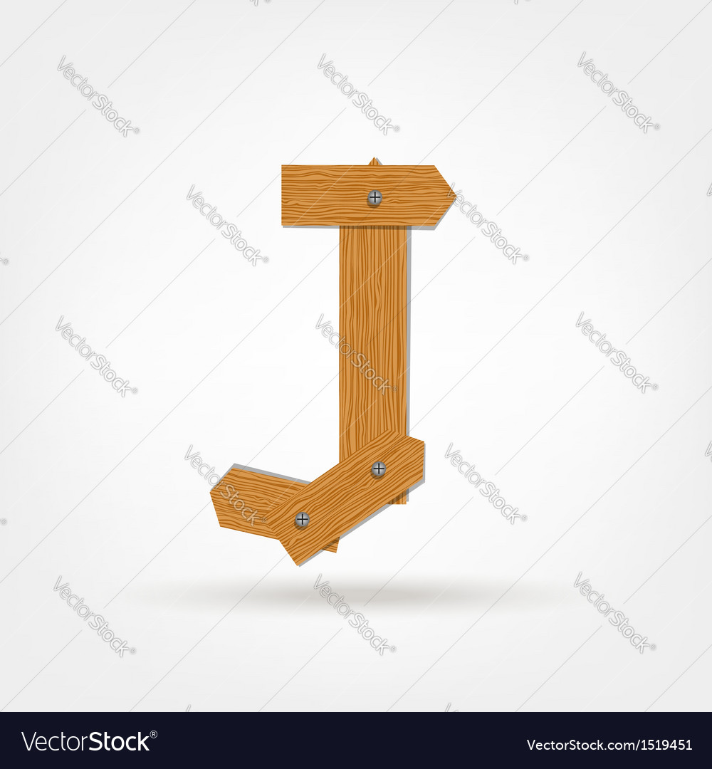 Wooden Boards Letter J vector image