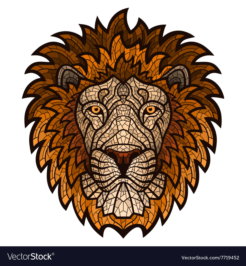 Ethnic patterned ornate head of Lion vector image