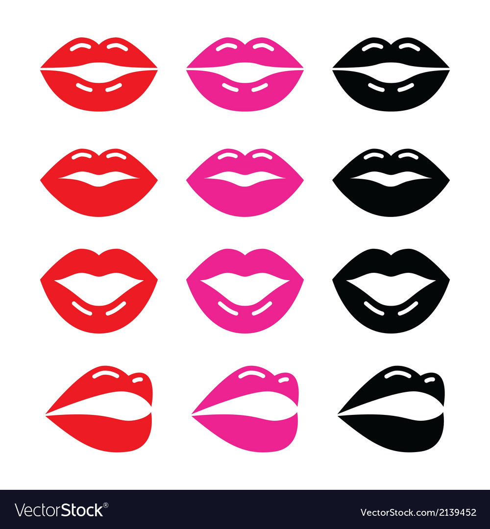Lips kiss red pink and black glossy icon vector image