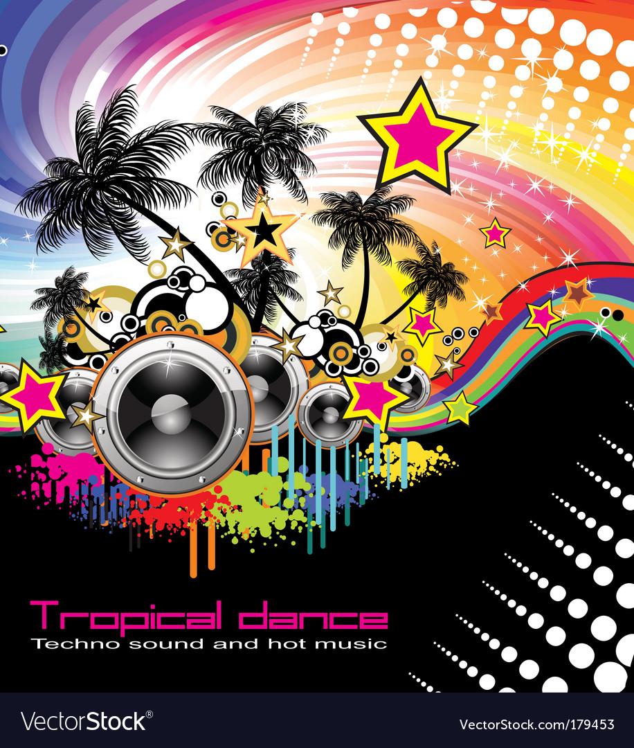 Tropical dance music flyer vector image