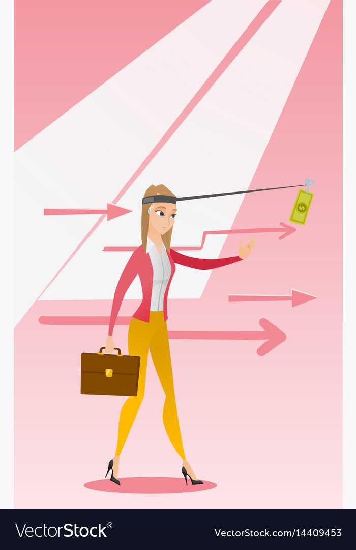 Businesswoman trying to catch money on fishing rod vector image