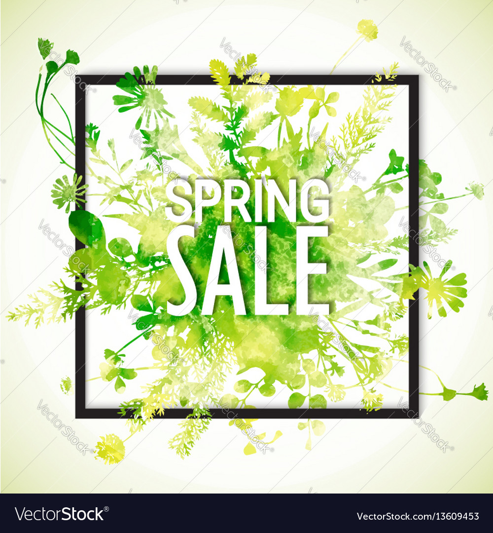 Spring sale watercolor banner vector image