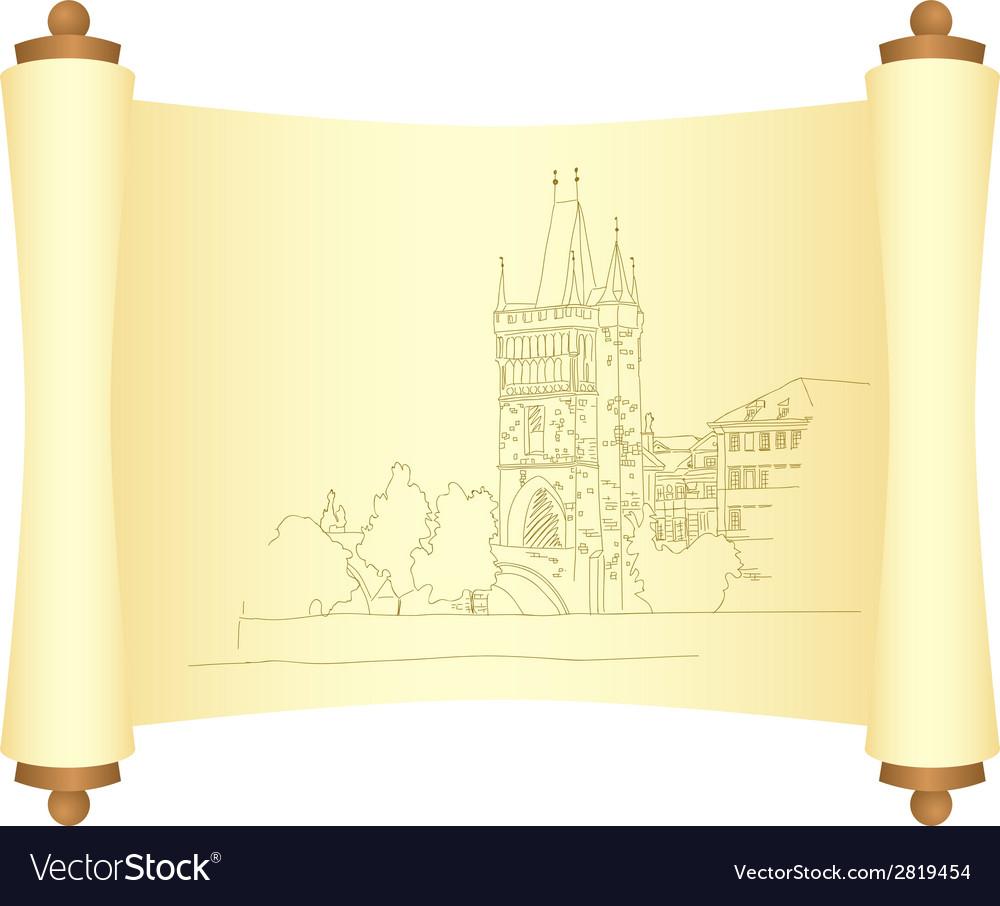 Charles bridge manuscript 01 vector image