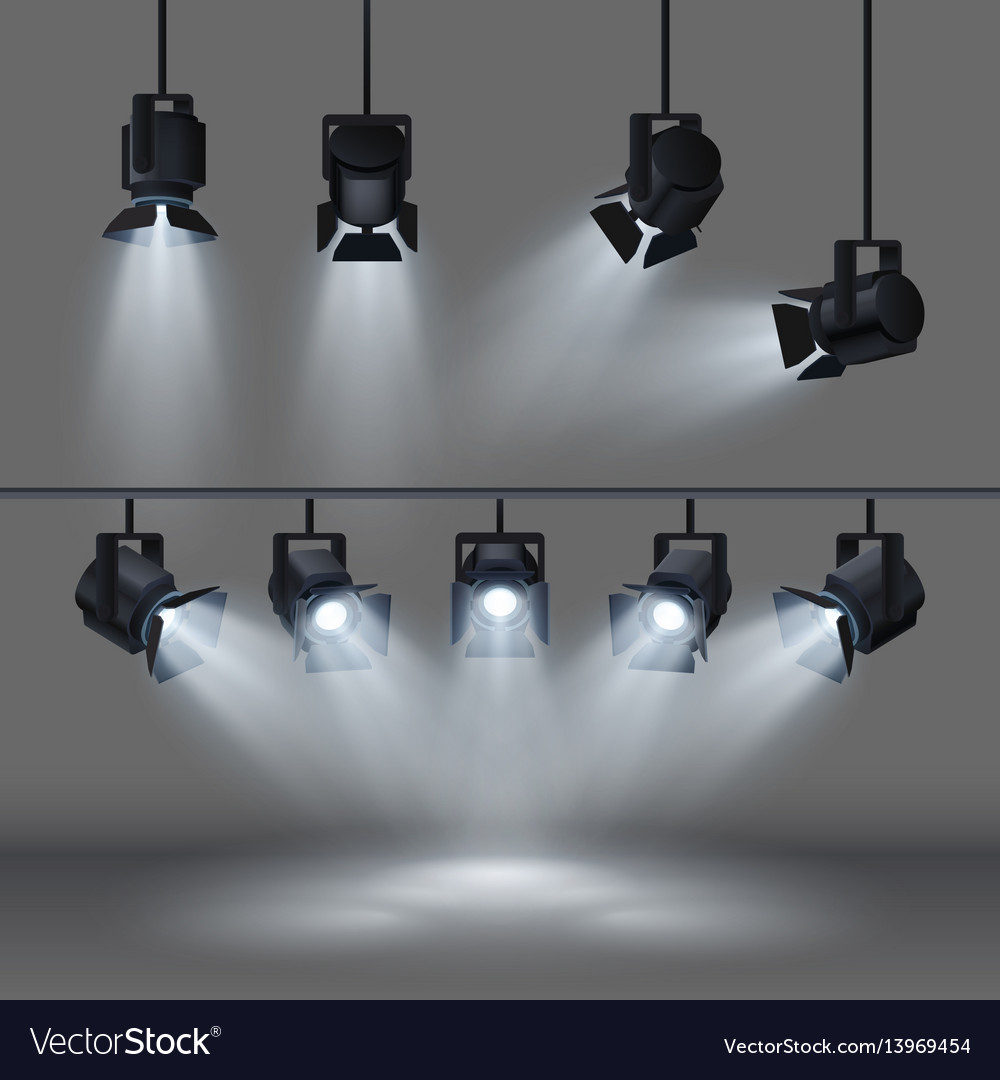 Spotlights with bright white light shining stage vector image