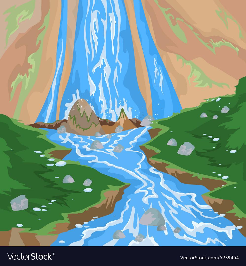 small lake with a beautiful waterfall