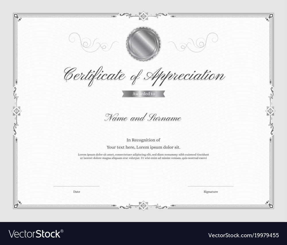Certificate template with elegant border frame vector image yelopaper Image collections