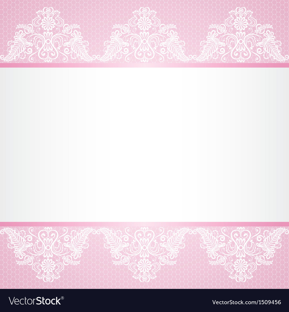 Lace floral lace border on pink background vector image