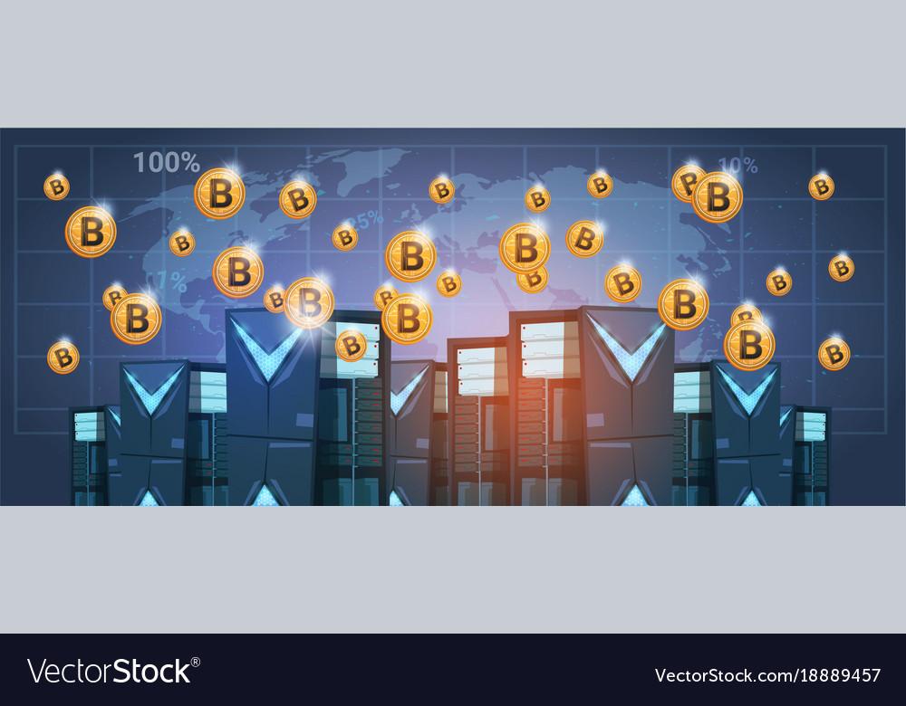Bitcoin mining farm data center over world map vector image gumiabroncs Gallery