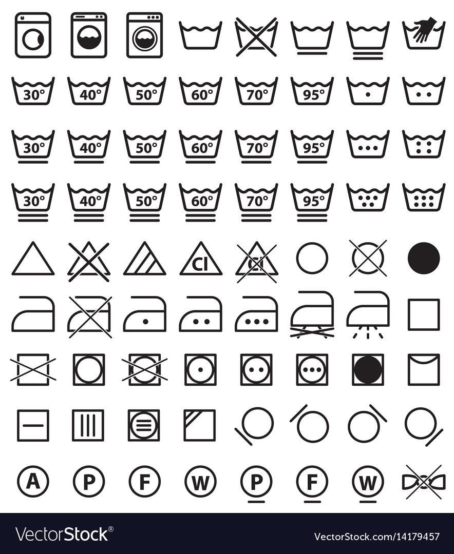 Laundry symbols washing icons vector image