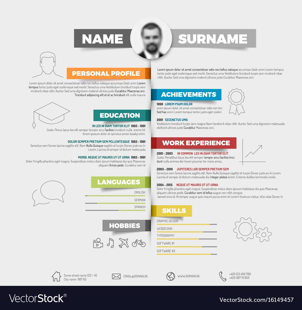 minimalist cv resume template vector image - Resume Template Free Vector