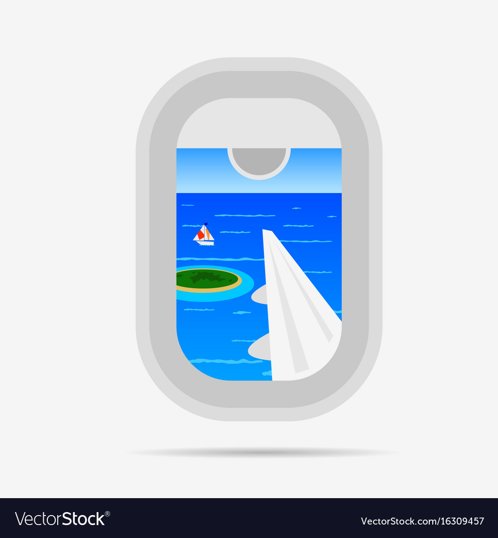 View through airplane window on the paradise sea vector image