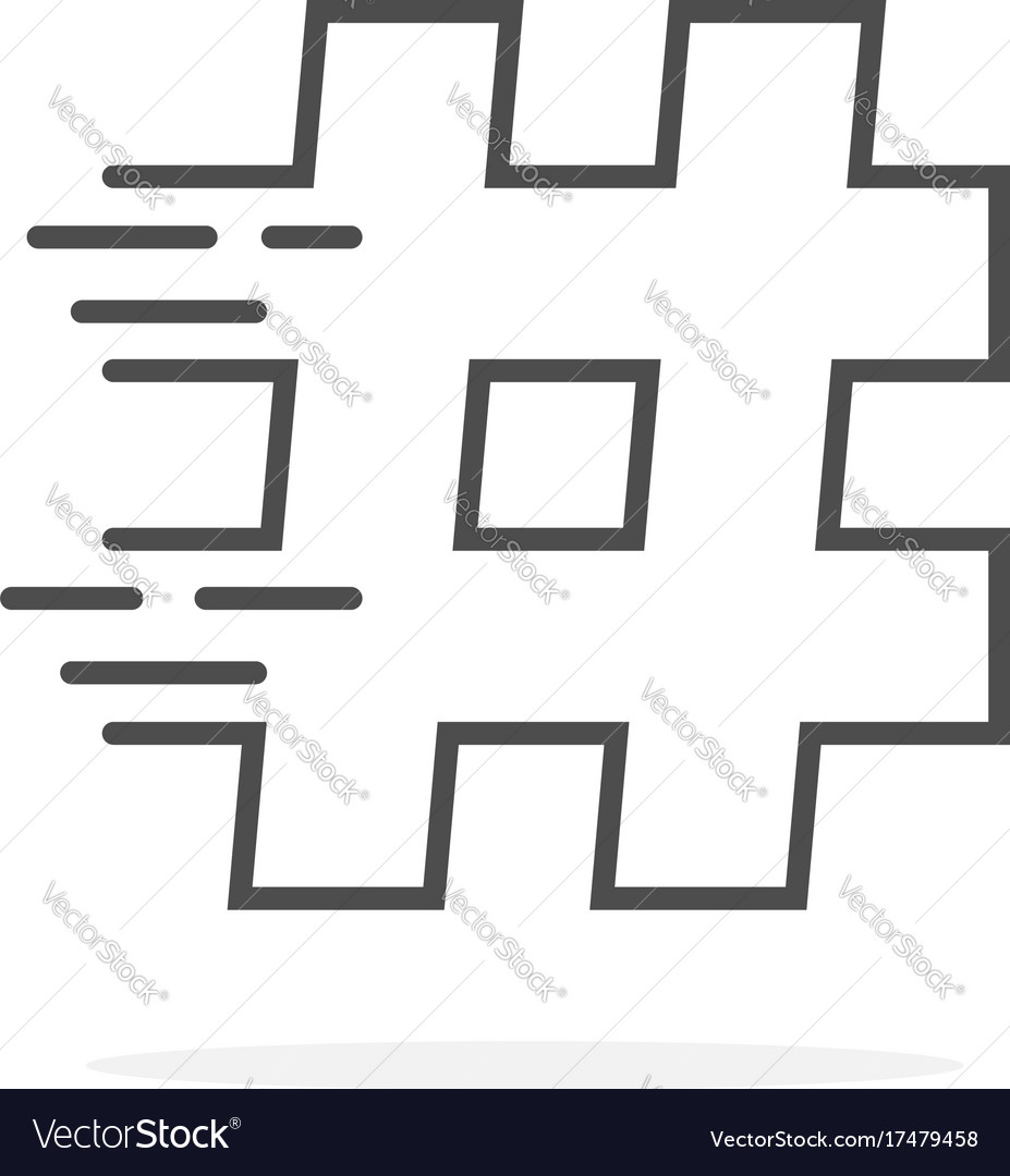 Black thin line hashtag with shadow vector image