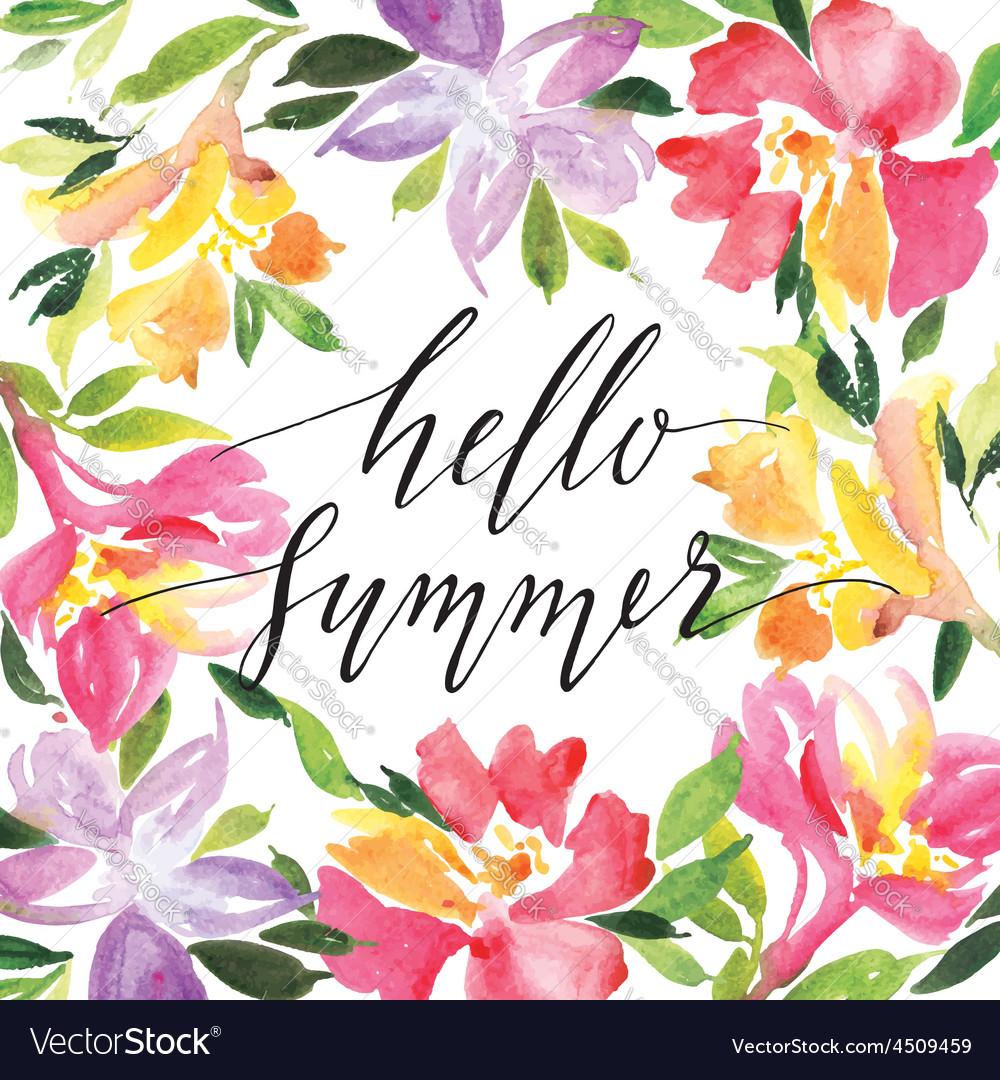 Watercolor greeting card vector image