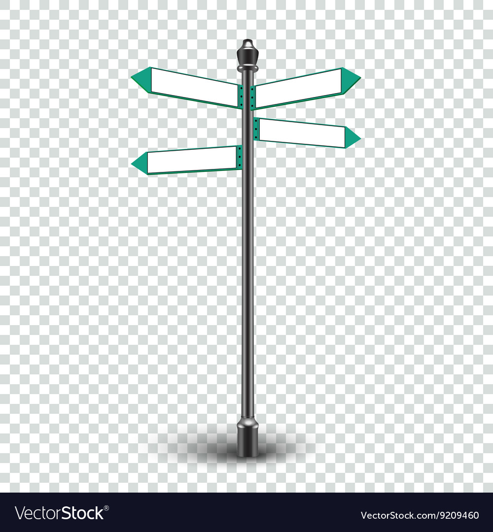 Blank white road signs in bright sky vector image