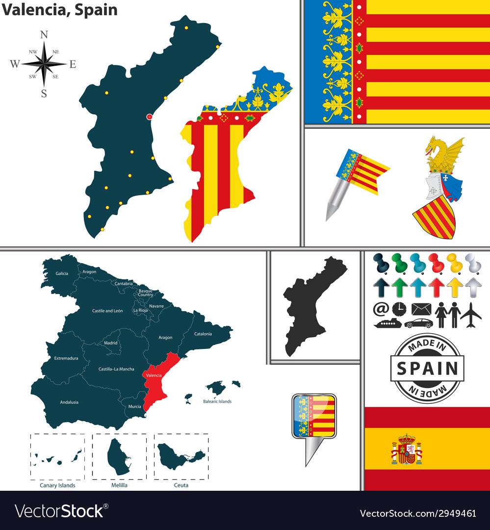 map of valencia royalty free vector image vectorstock