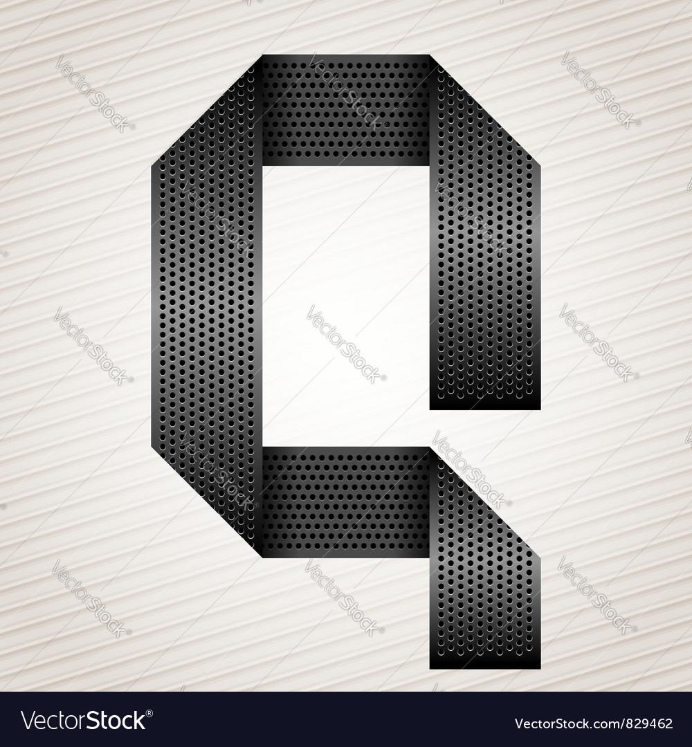 Letter metal ribbon - Q vector image
