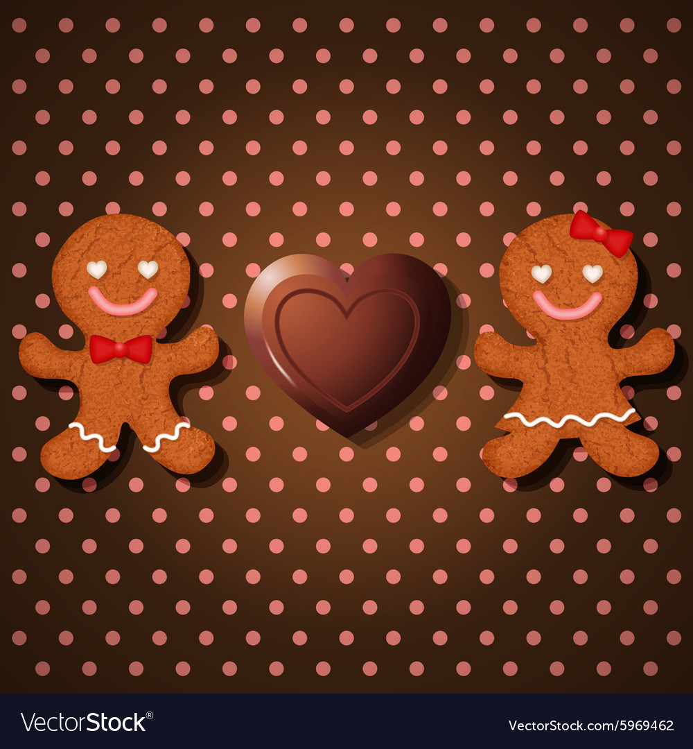 Loving couple of gingerbread and heart chocolate vector image