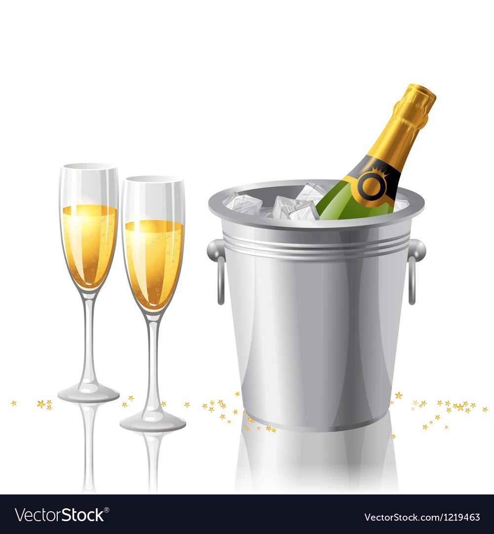 Frozen champagne vector image