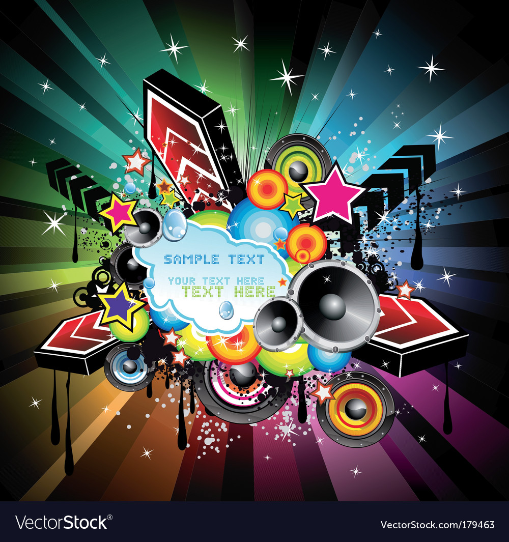 Rainbow disco music background vector image