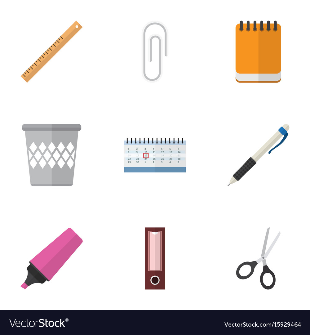 Flat icon equipment set of fastener page vector image