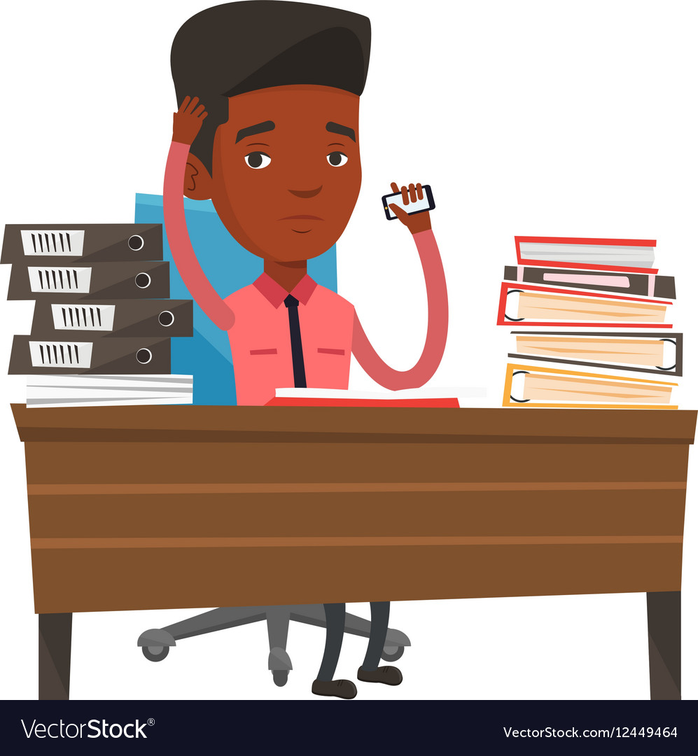 Stressed business man working in office vector image