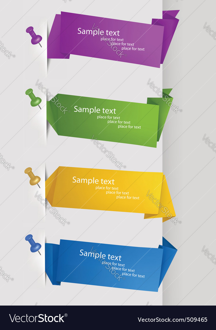 Collection with origami banners with pushpins vector image