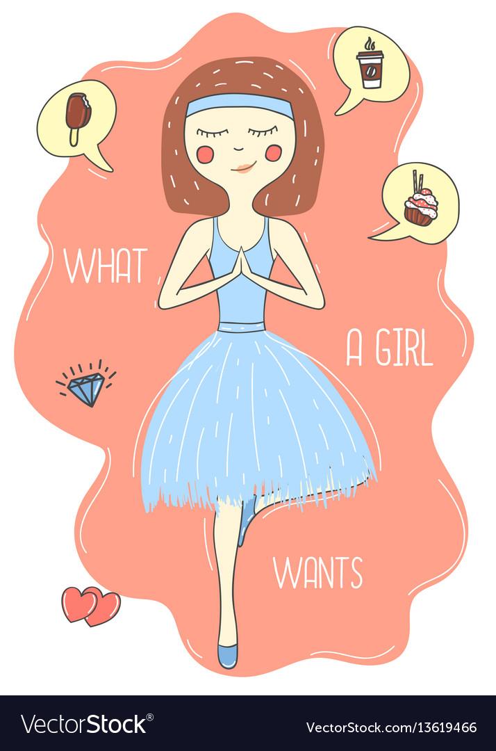 Beautiful lovely little cartoon ballerina vector image