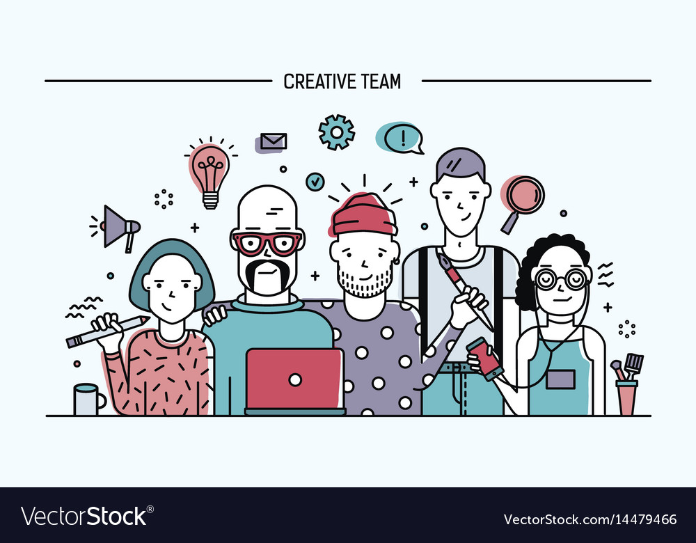 Creative business team concept banner with vector image