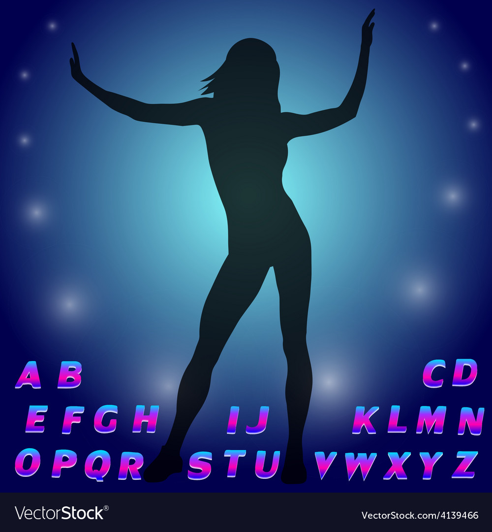 Silhouette of a dancing girl Neon glow alphabet vector image