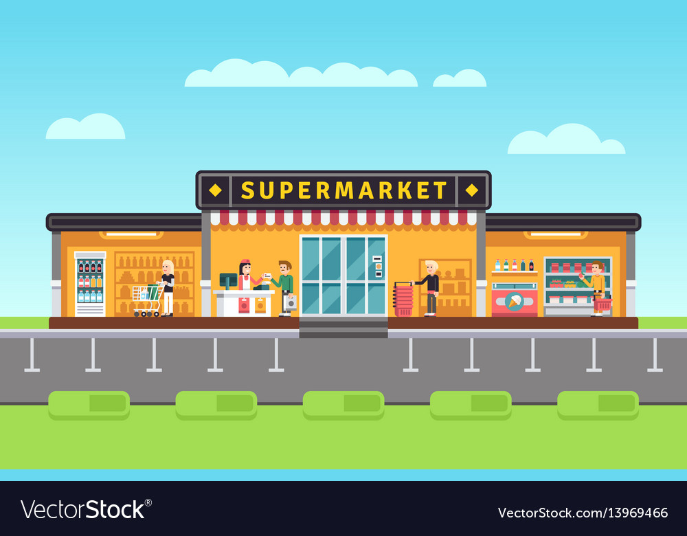 Supermarket store hypermarket building with vector image