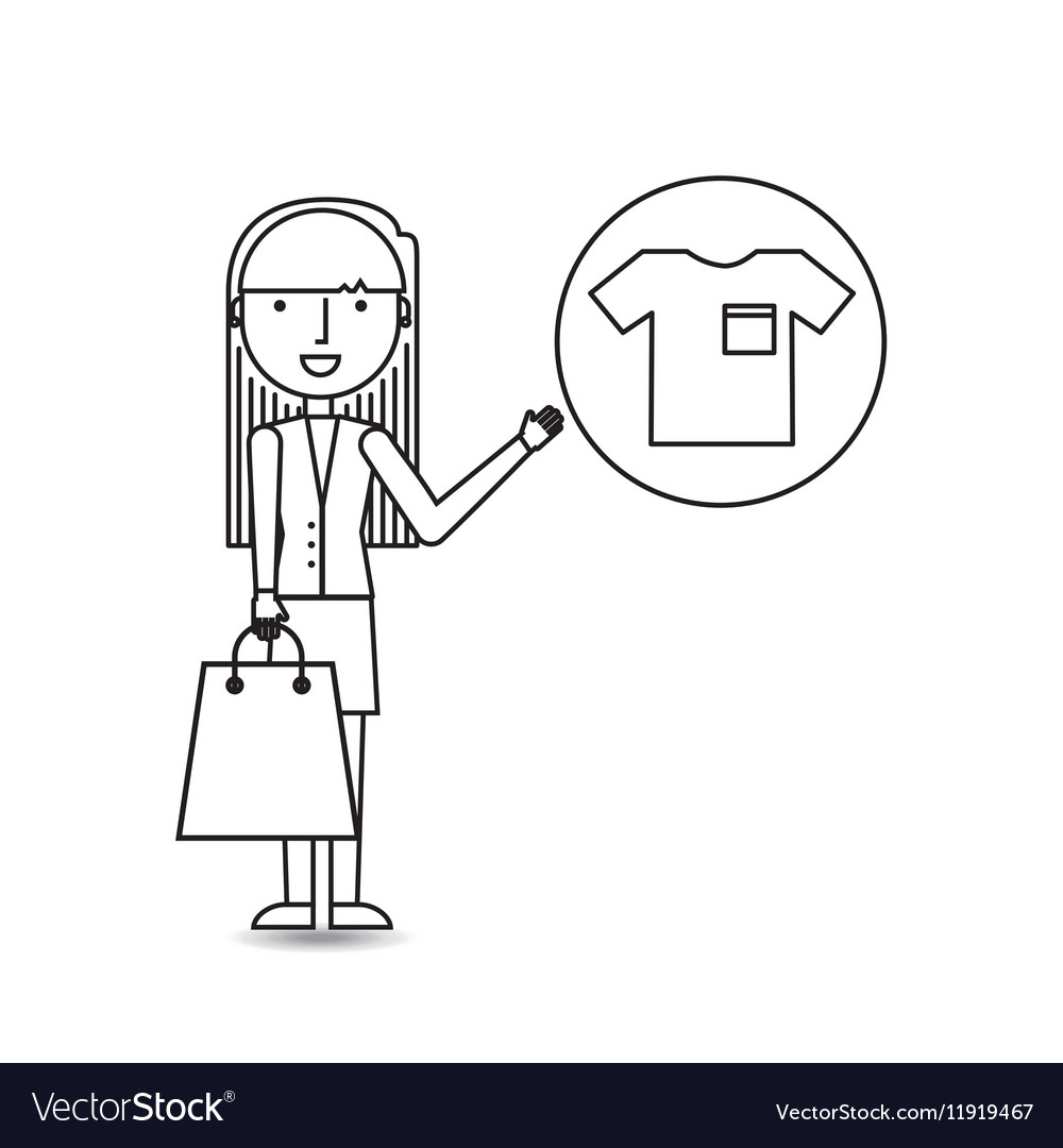 Drawing girl shopping with clothes vector image