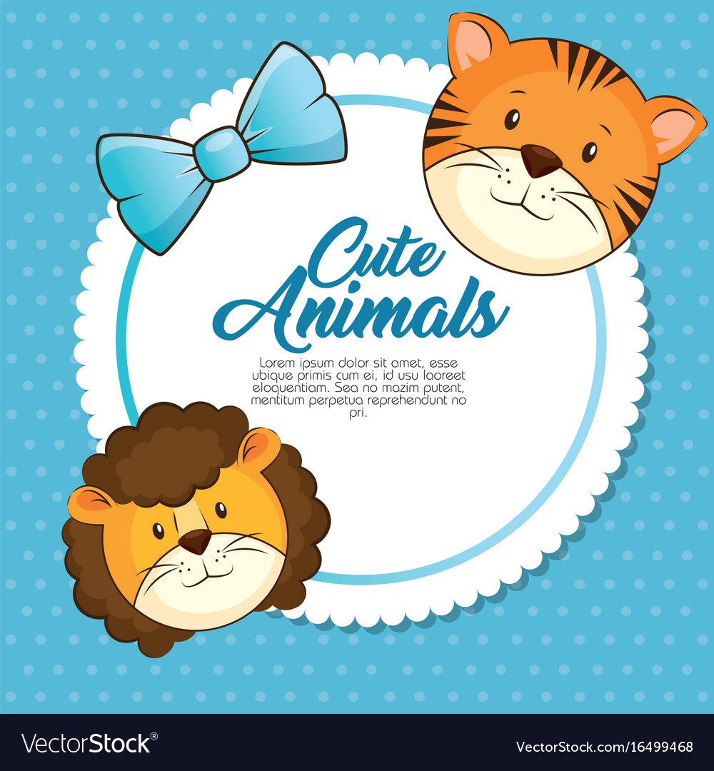 Cute animals baby shower card vector image