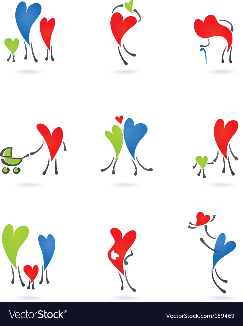 Family heart icons vector image