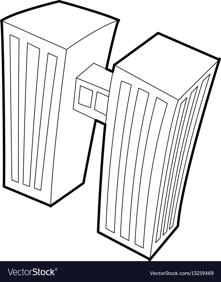 Double building icon outline style vector image