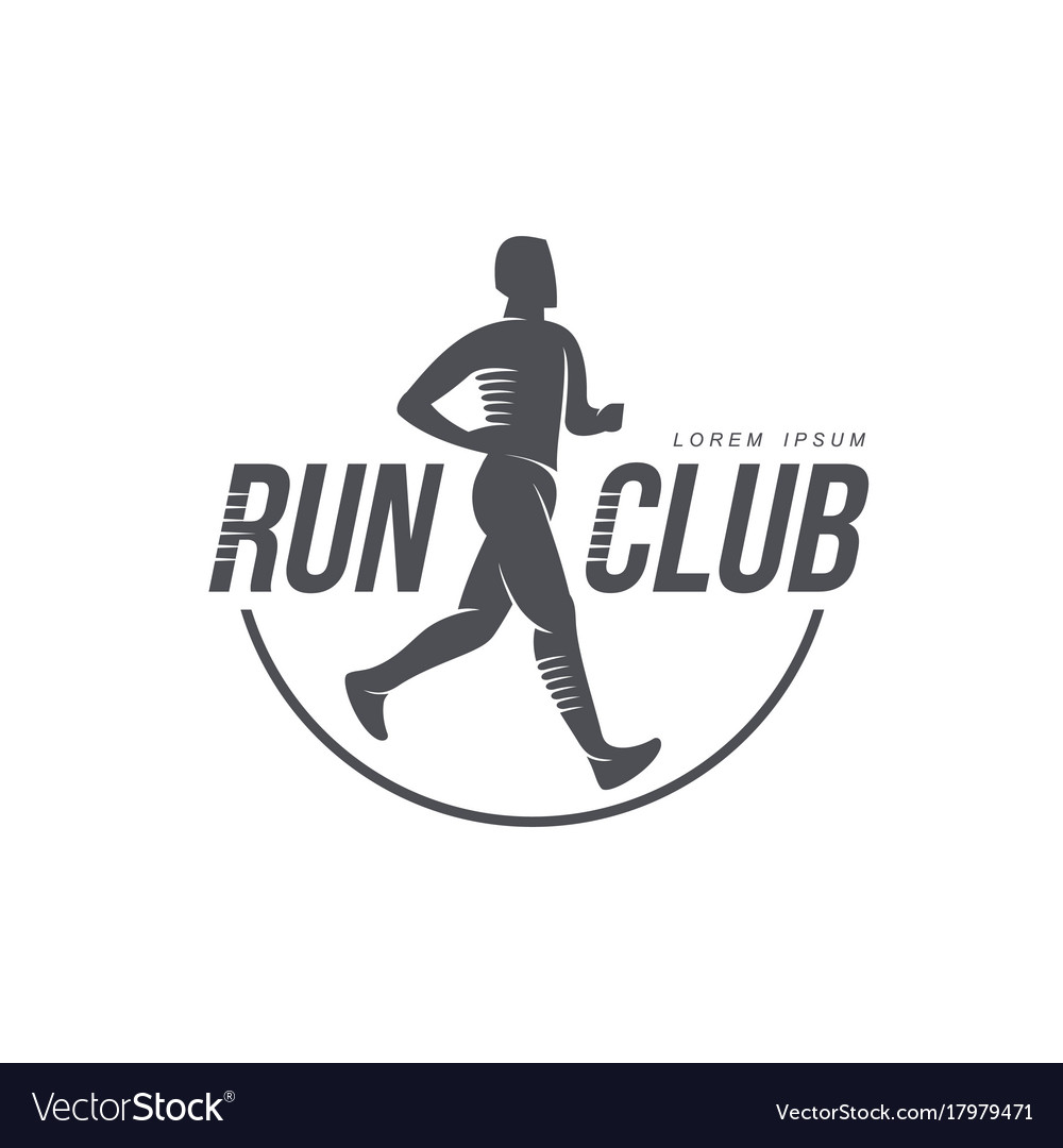 Man running jogging club icon isolated vector image