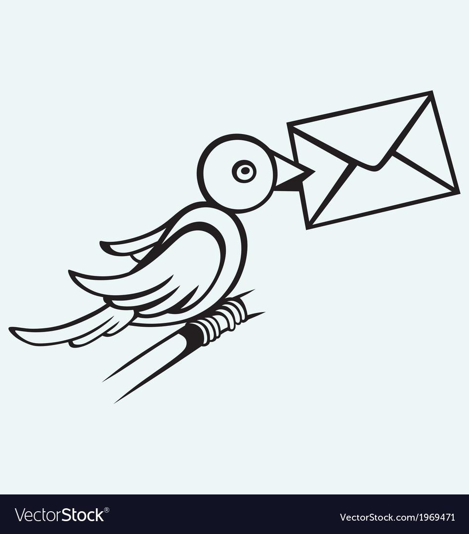 Postal pigeon vector image