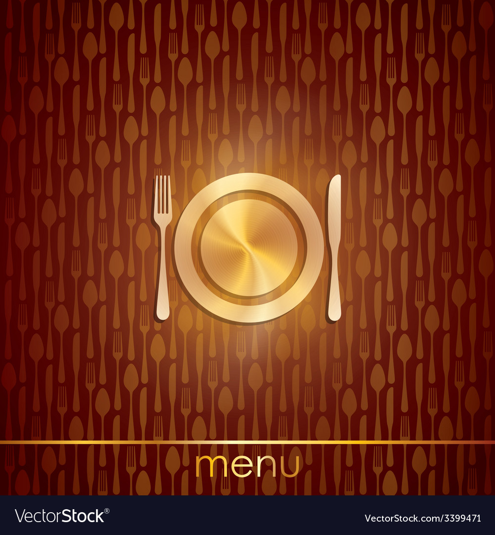Restaurant menu design with plate fork and knife vector image