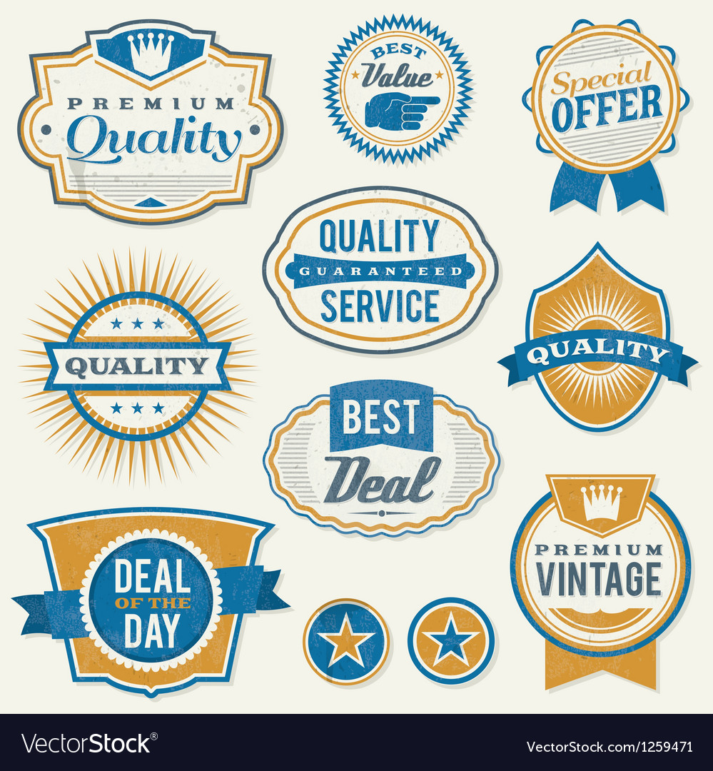 Retro vintage retail labels vector image