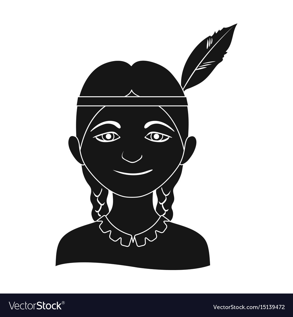 Indianhuman race single icon in black style vector image
