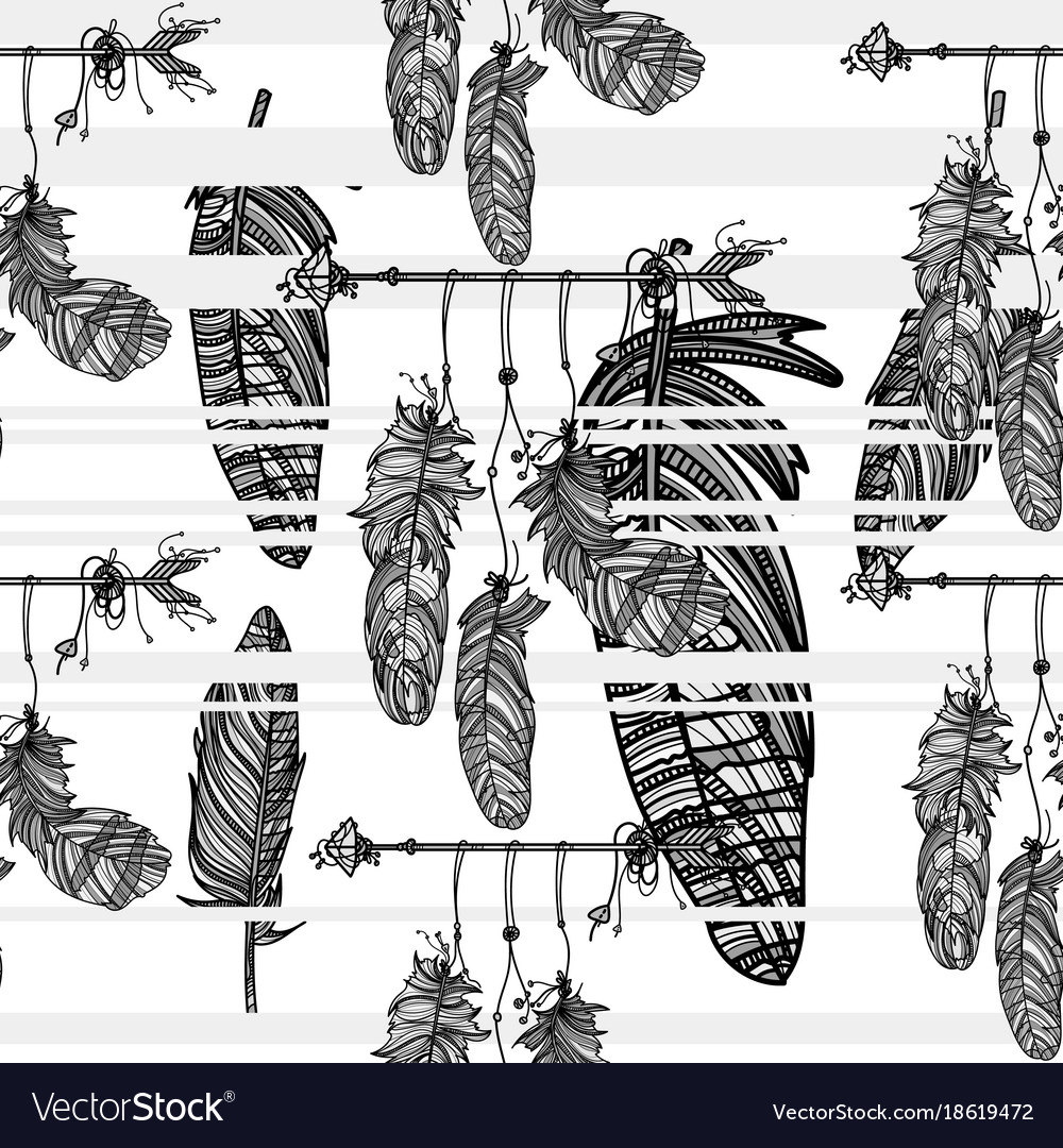 Seamless monochrome pattern with dreamcatcher vector image