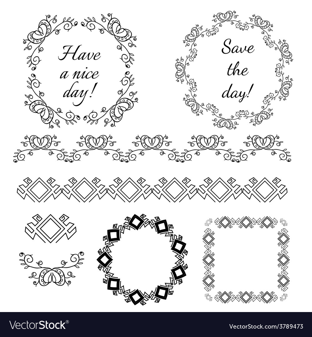 Decorative vintage frames and design elements vector image