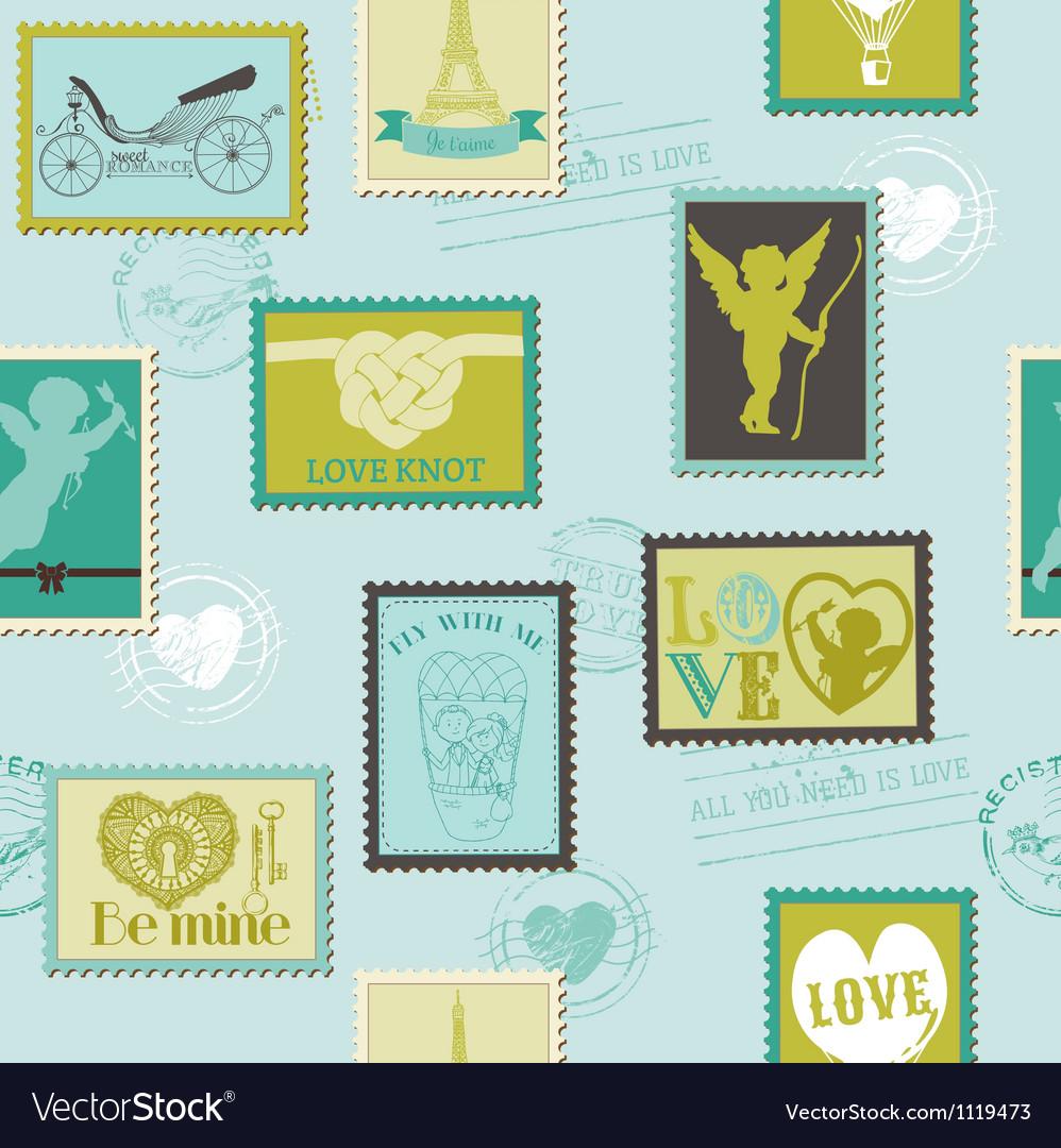 Valentine Stamps Love Background vector image