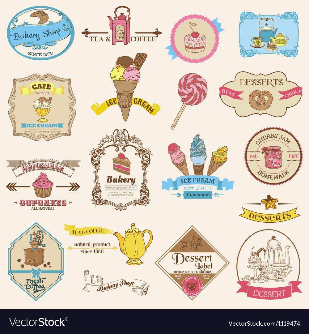 Vintage Bakery and Dessert labels Vector Image
