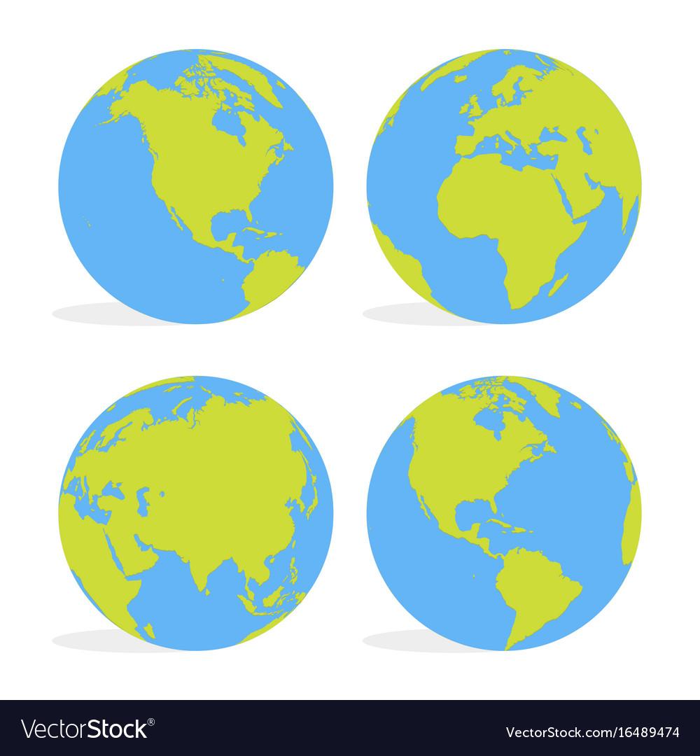 Green and blue cartoon world map globe set vector image green and blue cartoon world map globe set vector image sciox Images